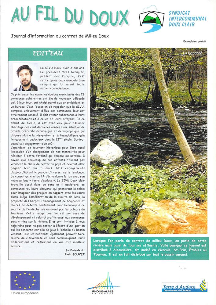 Journal d'information pour les habitants de la valllée du Doux